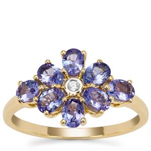 AA Tanzanite Ring with White Zircon in 9K Gold 1.30cts