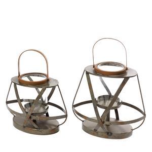 Set of 2 Iron Lantern Candle Holders