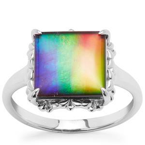 AA Ammolite Ring in 9K White Gold (10mm)