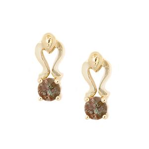 0.49cts Green Colour Change Andesine 9K Gold Earrings (U)