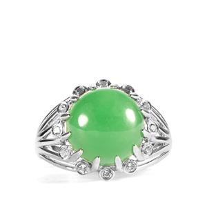 Green Jade Ring with White Topaz in Sterling Silver 8.40cts