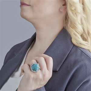 Cochise Turquoise Ring with White Topaz in Sterling Silver 15.67cts