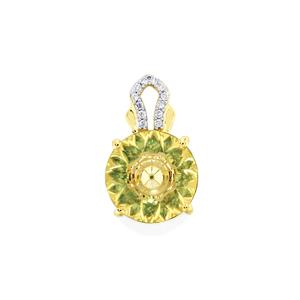 Lehrer KaleidosCut Xia Heliodor, Fern Green Topaz Pendant with Diamond in 10K Gold 2.97cts