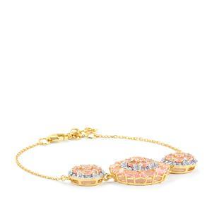 Mozambique Pink Spinel & White Zircon 9K Gold Tomas Rae Bracelet ATGW 5.09cts