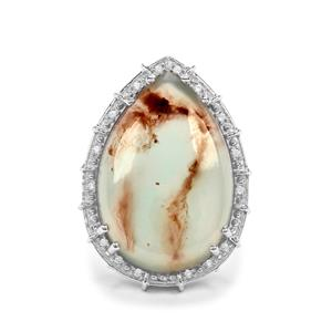 Aquaprase™ & White Zircon Sterling Silver Ring ATGW 14.04cts