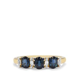 Natural Nigerian Blue Sapphire & White Zircon 9K Gold Ring ATGW 1.17cts