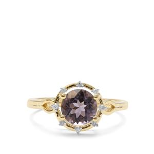 Montezuma Blue Quartz Ring with Diamond in 9K Gold 1.25cts