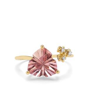Lehrer Infinity Cut Galileia Topaz & Diamond 9K Gold Ring ATGW 4.04cts