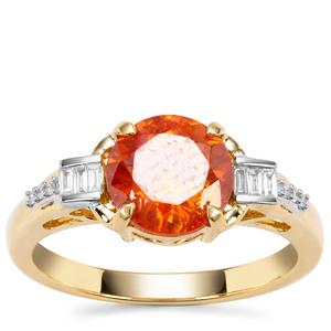 Aliva Sphalerite Ring with Diamond in 18K Gold 2.65cts