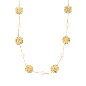 Kaori Cultured Pearl Necklace in Gold Plated Sterling Silver
