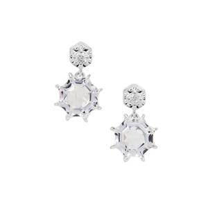Mirror of Paradise Cut Optic Quartz Earrings with White Zircon in Sterling Silver 5.80cts