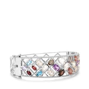 Kaleidoscope Gemstones Oval Bangle in Sterling Silver 11.88cts