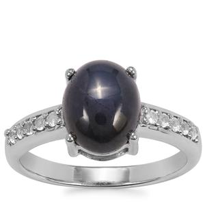 Madagascan Blue Star Sapphire Ring with White Topaz in Sterling Silver 4.34cts