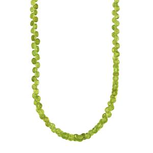 87ct Changbai Peridot Sterling Silver Graduated Bead Necklace