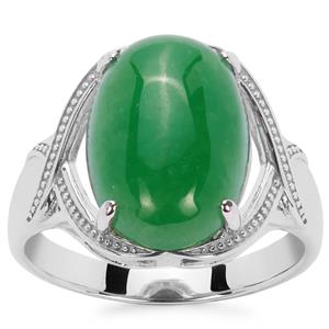 Green Jade Ring in Sterling Silver 6.81cts