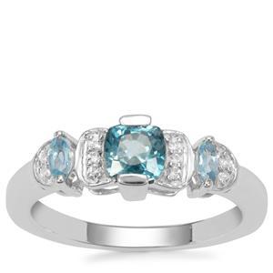 Ratanakiri Blue Zircon, Blue Topaz Ring with White Zircon in Sterling Silver 1.21cts