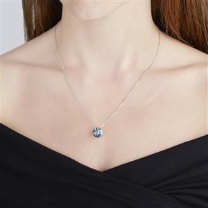 3.50 Lehrer QuasarCut London Blue Topaz 10K White Gold Pendant Necklace