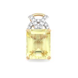 Canary Kunzite & Diamond 18K Gold Lorique Pendant MTGW 5.44cts