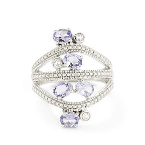 AA Tanzanite & White Topaz Sterling Silver Ring ATGW 1.59cts