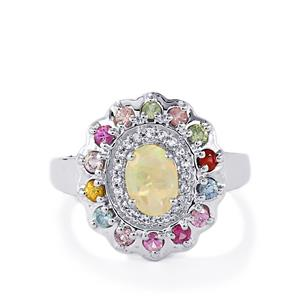 Ethiopian Opal, Rainbow Sapphire & White Topaz Sterling Silver Ring ATGW 1.13cts