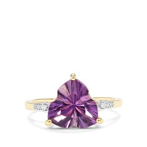 Lehrer Infinity Cut Ametista Amethyst & Diamond 10K Gold Ring ATGW 2.93cts