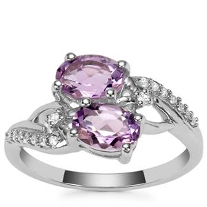 Moroccan Amethyst Ring with White Zircon in Sterling Silver 1.56cts