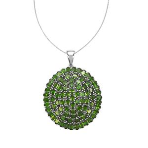 20.74ct Chrome Diopside Platinum Plated Sterling Silver Pendant Necklace