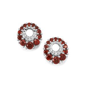 Anthill Garnet & White Zircon Sterling Silver Earrings ATGW 1.42cts