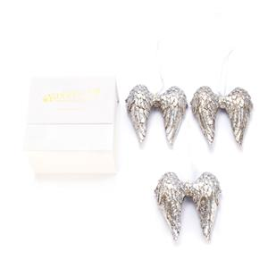Christmas Collection - Antique Silver Angel Wing Decoration with Clear Quartz ATGW 1.38cts