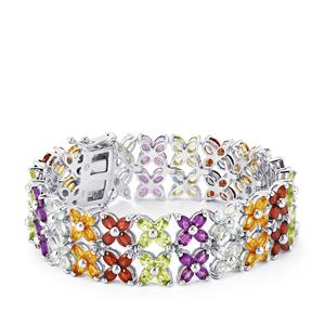 Kaleidoscope Gemstones Bracelet in Sterling Silver 31.28cts