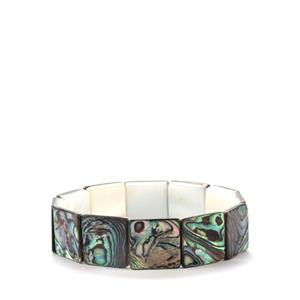 Paua & White Shell Northern Lights Elasticated Bracelet (16mm)