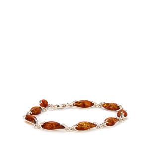 Baltic Cognac Amber Sterling Silver Bracelet (7 x14mm)