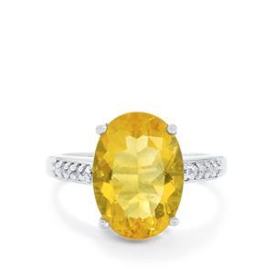 Golden Fluorite & White Topaz Sterling Silver Ring ATGW 6.99cts
