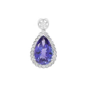 AAAA Tanzanite Pendant with Diamond in Platinum 950 6.62cts