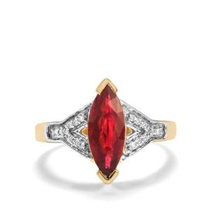 Nigerian Rubellite Ring with Diamond in 18K Gold 1.53cts