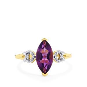 Zambian Amethyst & Diamond 9K Gold Ring ATGW 1.61cts