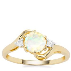 Ethiopian Opal Ring with White Zircon in 9K Gold 0.60ct