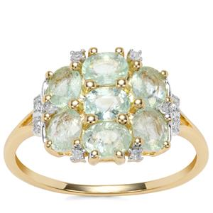 Paraiba Tourmaline Ring with Diamond in 10k Gold 1.63cts