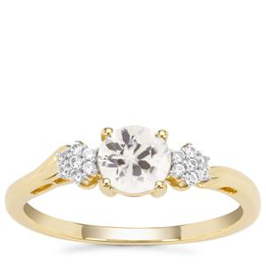 Singida Tanzanian Zircon Ring with White Zircon in 9K Gold 1cts