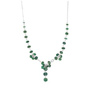 Zambian Emerald Bead Necklace in Sterling Silver 17.10cts