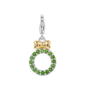 Chrome Diopside Wreath with Bow Milano Charms in Two Tone Gold Plated Sterling Silver 0.27cts