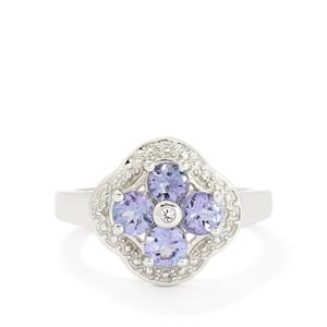 AA I1  Tanzanite & White Topaz Sterling Silver Ring ATGW 1.08cts