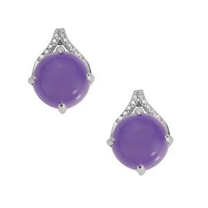 Purple Jade Earrings in Sterling Silver 9.74cts
