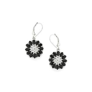 Black Spinel & White Topaz Sterling Silver Earrings ATGW 9cts