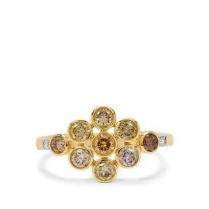 Multi-Colour Diamond Ring with White Diamond in 18K Gold 1cts