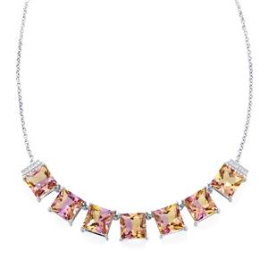 Anahi Ametrine Necklace with White Zircon in Platinum Plated Sterling Silver 23.47cts