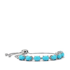 Sleeping Beauty Turquoise Adjustable Bracelet in Platinum Plated Sterling Silver 6.08cts