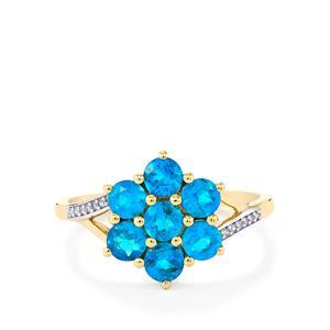 Neon Apatite & Diamond 10K Gold Ring ATGW 1.19cts