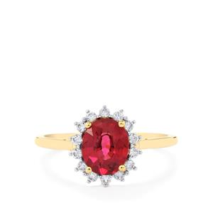 Comeria Garnet Ring with White Zircon in 9K Gold 2.05cts