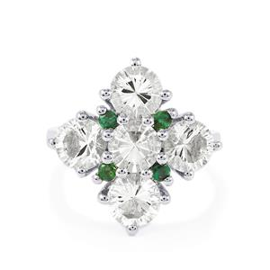 Itinga Petalite & Santa Terezinha Emerald Sterling Silver Ring ATGW 3.46cts